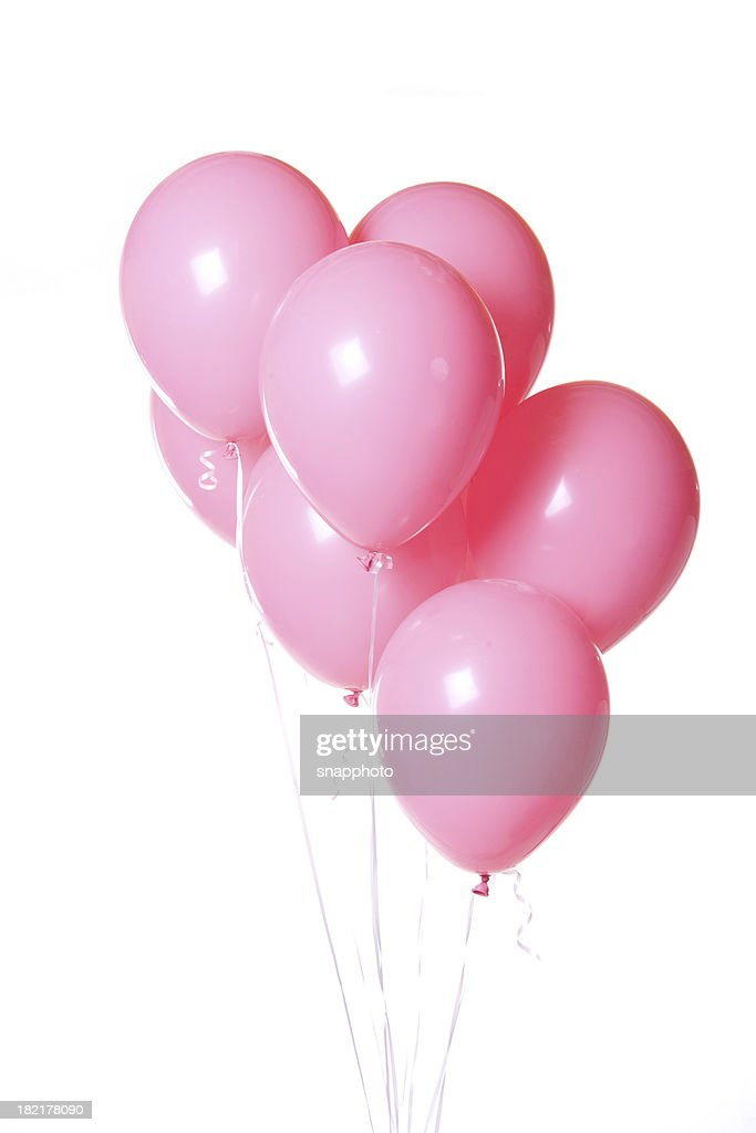 Group of Pink Balloons on White Background Bunch : Stock Photo