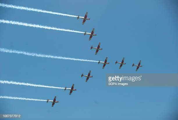A group of planes perform on the air during the 2018 Torre del Mar International Air Festival in Torre del Mar near Malaga The 2018 Torre del Mar...