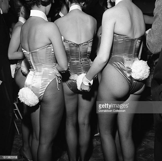 A group of Playboy Bunnies photographed from behind with their white bunny tails showing at a dinner for the Motion Picture Pioneers Association at...