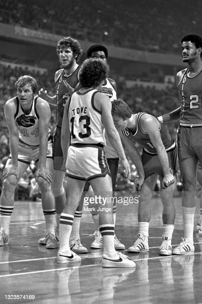 Group of players waits for an inbound pass during an NBA basketball game between the Denver Nuggets and the Portland Trail Blazers at McNichols Arena...