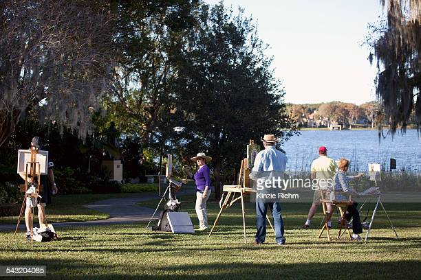 Group of plein-air painters in Albin Polasek Museum and Sculpture Garden, Winter Park, Florida, USA