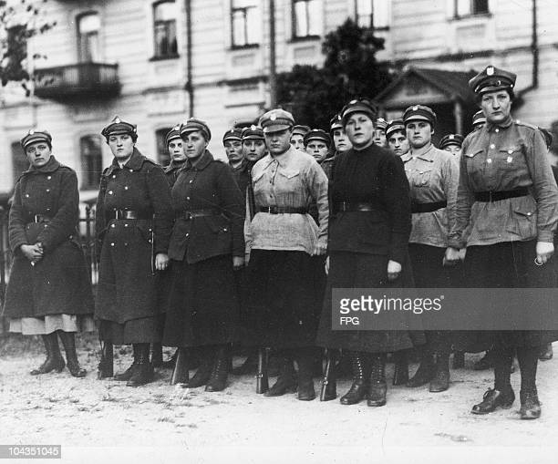 A group of Polish women soldiers possibly during the PolishSoviet War circa 1921