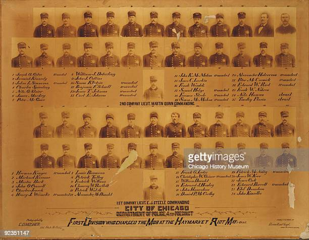 Group of portraits showing the members of the Chicago Police's First Division who charged teh mob at the Haymarket Riot Chicago IL 1886