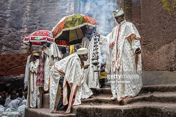 Group of priests celebrating Orthodox Easter.