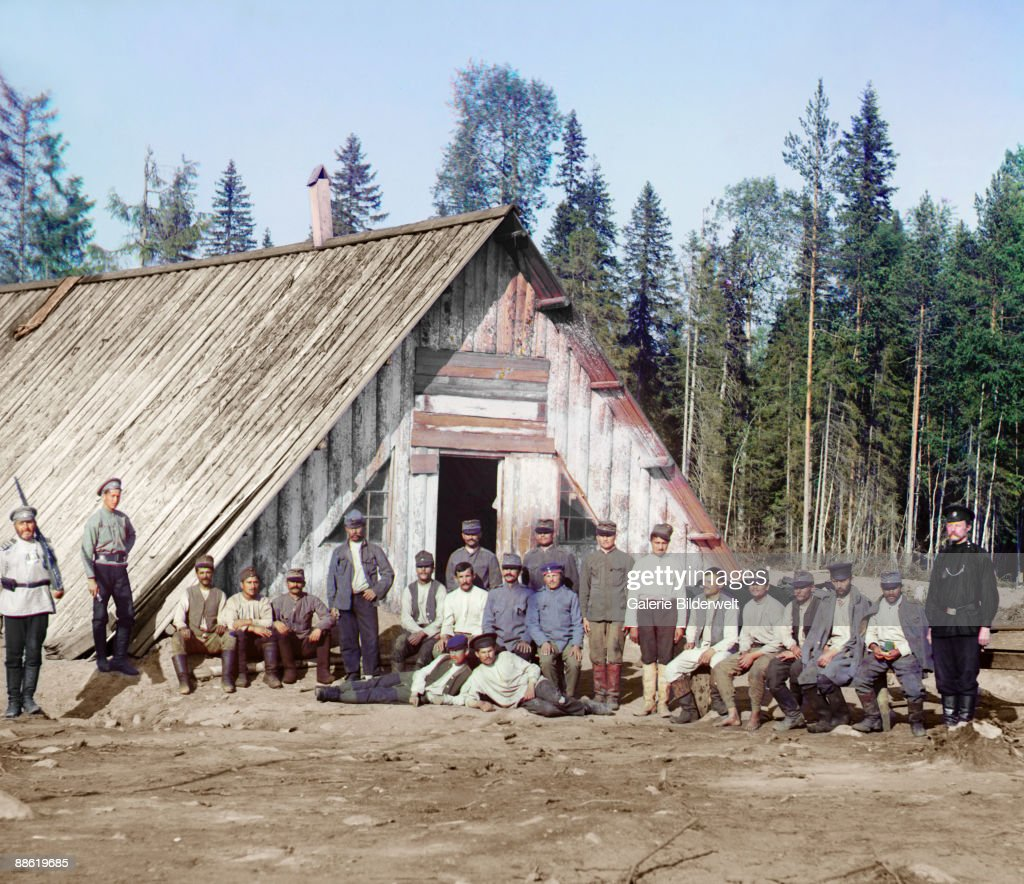 A group of prisoners of war from the Austro-Hungarian Empire held at a camp in Karelia, Russian Empire, 1915.