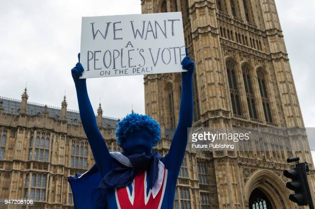 A group of proEU supporters gather outside Parliament to protest against Brexit as the EU Withdrawal Bill begins report stage in the House of Lord...