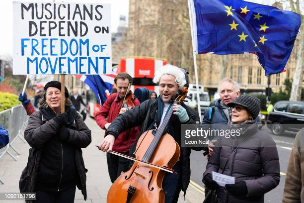Group of pro-European demonstrators protest near the Houses of Parliament in a bid to raise awareness of the need for freedom of movement for touring...