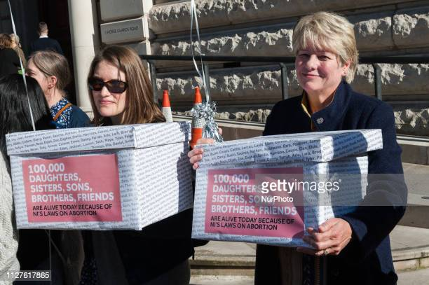 A group of prolife counterprotesters gather outside Westminsters Northern Ireland Office on 26 February as prochoice demonstrators campaign for...