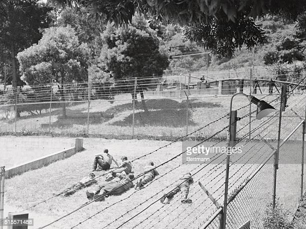 A group of ProNazi prisoners lie in the sun in the recreation enclosure of the internment area at Angel Island California which is under the command...