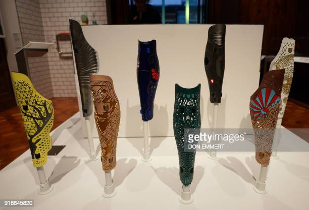 A group of prosthetic leg covers are displayed as part of the AccessAbility exhibit at the Cooper Hewitt Smithsonian Design Museum February 8 2018 in...