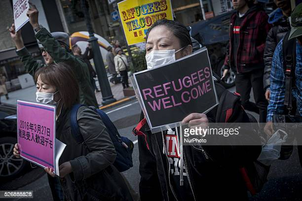 Group of protesters gathered in Shibuya ward, Tokyo, March 27 and carried out a demonstration to criticize about the outrageousness of Japan's...