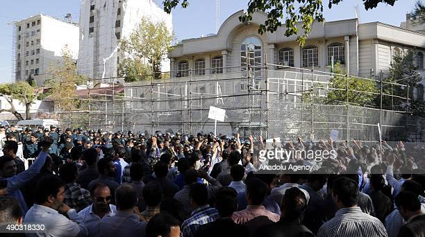 A group of protestor gather outside the Embassy of Saudi Arabia in Tehran to protest against Saudi Government over Mina stampede in Tehran Iran on...