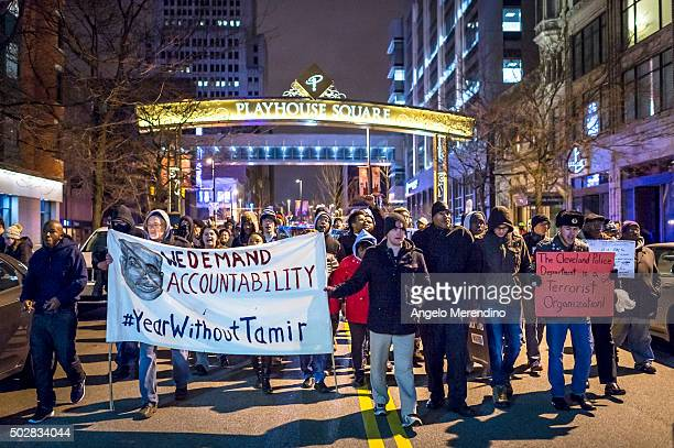 A group of protestors march on Huron Road on December 29 2015 in Cleveland Ohio Demonstrators took to the street the day after a grand jury declined...