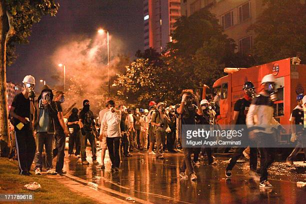 Group of protestors near Taksim Square during the night clashes.