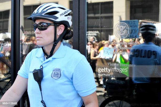 Group of protestors rallies at a local Dept of Homeland Security Immigration Field Office in Philadelphia PA on June 30 2018 Thousands participate in...
