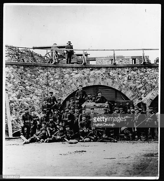 A group of Prussian soldiers inside the Fort d'Aubervilliers in Paris during the FrancoPrussian War