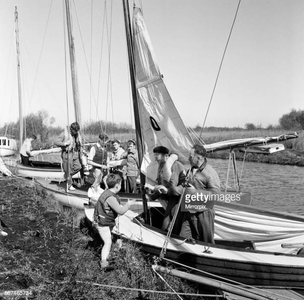 A group of pupils from Alleyne's Grammar School Stevenage training at the Norfolk Broads 24th April 1957