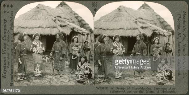 A Group of PureBlooded Japanese AboriginesAinus on the Island of Hokkaido Stereo Card Keystone View Company early 1900's