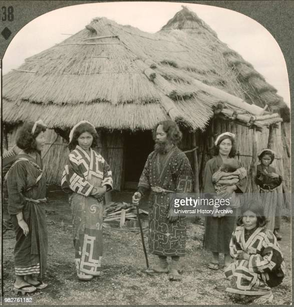 A Group of PureBlooded Japanese AboriginesAinus on the Island of Hokkaido Single Image of Stereo Card Keystone View Company Early 1900's