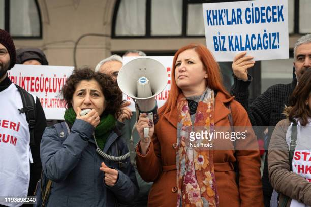 Group of purged academics and civil servants protested on 12 January 2029 in Istanbul, Turkey, calling attention to their dismissals from state...