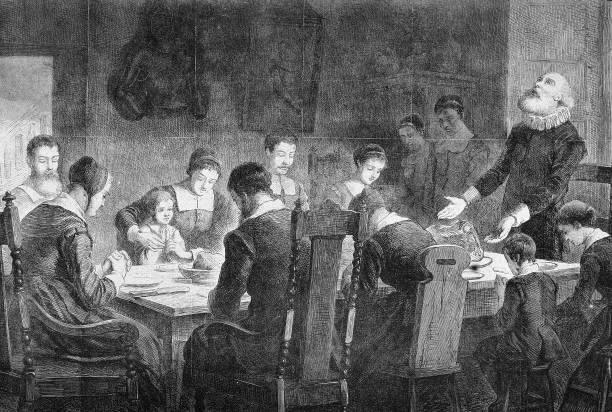 Puritans Pray At Thanksgiving Dinner Wall Art