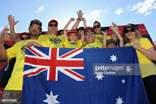 A group of race fans during final practice for the Australian Formula One Grand Prix at Albert Park on March 25 2017 in Melbourne Australia