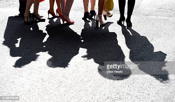 A group of racegoers arrive at the course during Ladies Day of the Cheltenham Festival at Cheltenham Racecourse on March 16 2016 in Cheltenham England