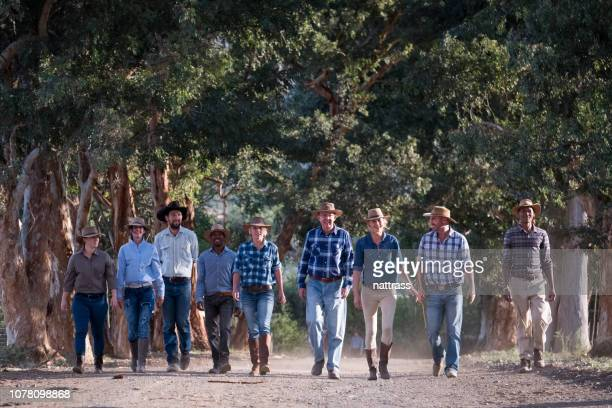 group of ranchers walkers - mixed farming stock pictures, royalty-free photos & images