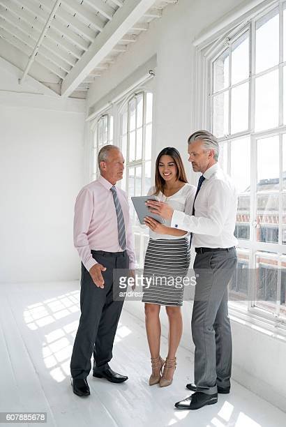 Group of real estate agents at an empty office