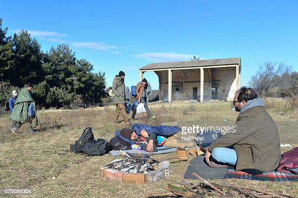 Group of refugees seen near the border between Greece and the Republic of Macedonia . Since the 18 November, Macedonia – along with Serbia, Croatia...