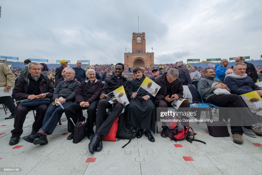 A group of religious attend a holy mass at the Renato Dall'Ara Stadium during a pastoral visit of Pope Francis on October 1, 2017 in Bologna, Italy. Pope Francis visits Bologna for the first time in occasion of the closing day of the eucharistic diocesan congress of the city.
