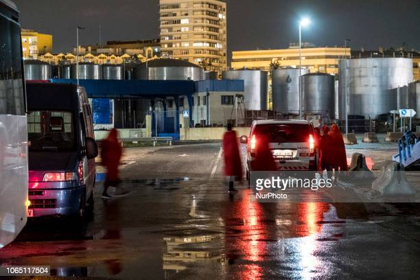 A group of rescued female getting into a van to be transferred to a center Malaga The Spaniard Maritime vessel rescued in the Mediterranean sea 202...