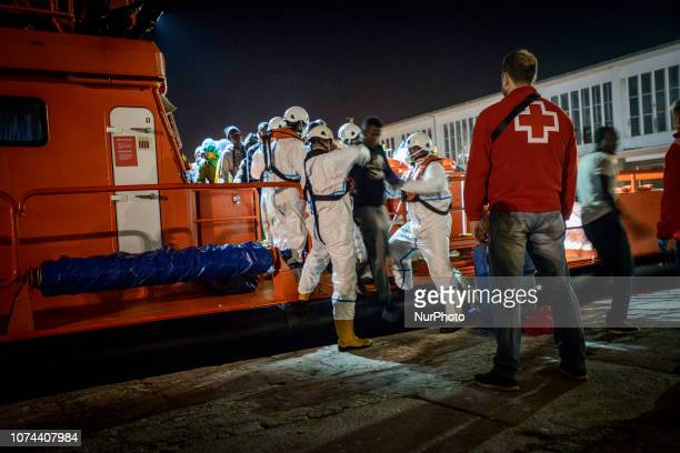 A group of rescued migrants being transferred to the Care Unit where the REd Cross staffs attended to them Malaga Spain