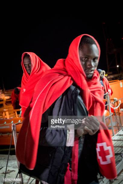 A group of rescued migrants is being transferrd to the Care unit where the Red Cros staffs will attend them on 22 December 2018 in Malaga Spain 120...