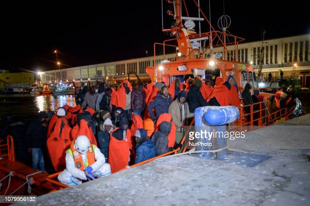 A group of rescued migrants on board the Spanish Maritime vessel on January 7 Malaga Southern Spain