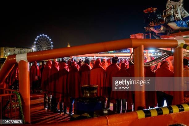 A group of rescued migrants onboard the Spanish vessel at the Malaga's port Malaga The Maritime Spanish Vessel SAR Mastelero rescued three dinghies...