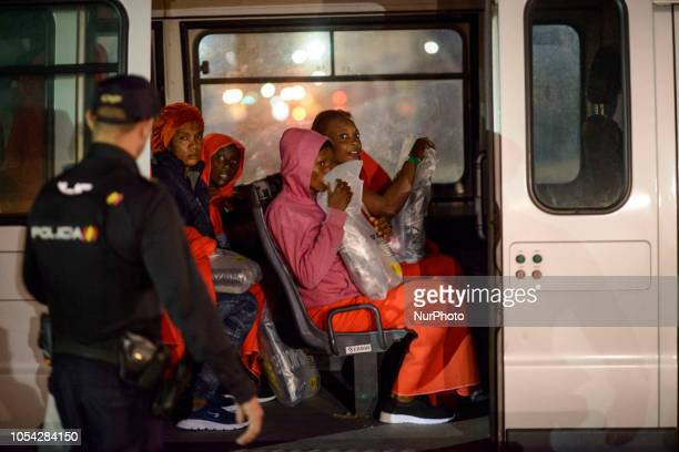 A group of rescued women inside of a van to be transferred to a center in Malaga Malaga