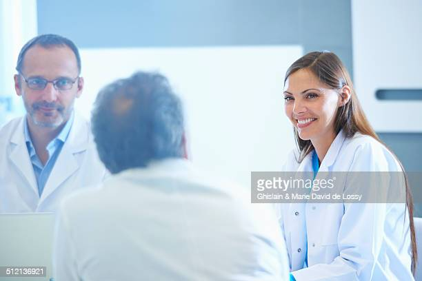 Group of researchers having meeting