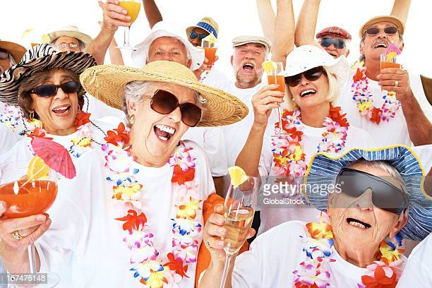 Group of retired people enjoying a beach party