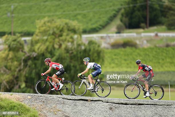 A group of riders compete in a breakaway Belgium rider Thomas De Gendt of the Lotto Soudal Team Australian rider Cameron Meyer of the Orica GreenEDGE...
