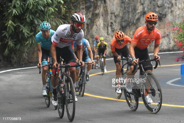 Group of riders led by Fernando Gaviria of Colombia and UAE-Team Emirates, and Jakub Mareczko of Italy and CCC Pro Team, seen at 300m of the finish...