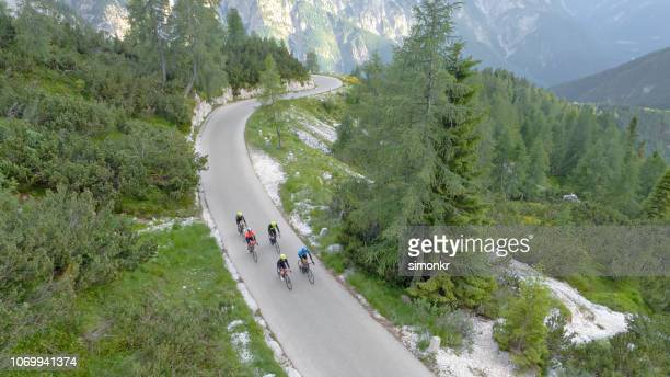 group of road cyclists riding on beautiful mountain road surrounded by trees and mountains - road cycling stock pictures, royalty-free photos & images