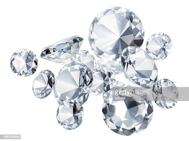 Group Of Round Faceted Diamonds Isolated On White