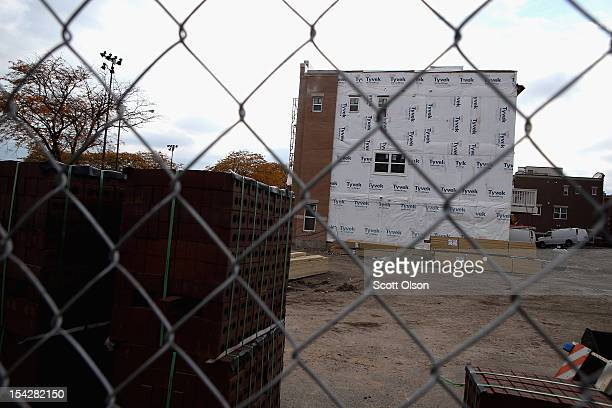 A group of row houses are under construction October 17 2012 in Chicago Illinois New home construction in the United States was up 15 percent in...