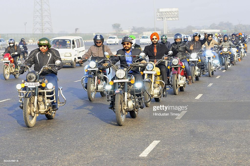 A group of Royal Enfield bikers come together for a Royal Enfield bike rally from Sirhaul Toll Plaza to Sector 14 on Expressway to remember the...