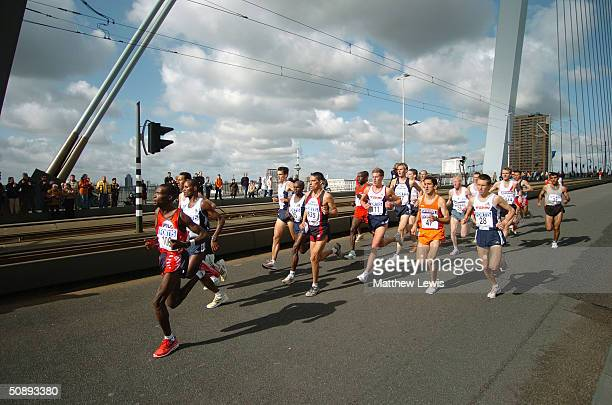 A group of runners competes during the Rotterdam Marathon on April 4 2004 in Rotterdam Netherlands
