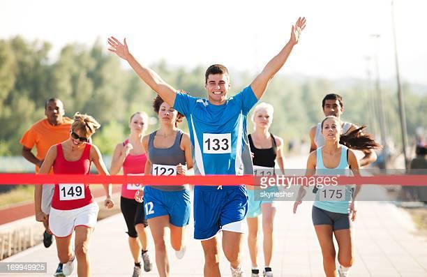 Gruppe von Läufern das Rennen zu beenden.
