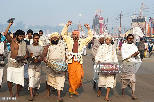 Group of Sadhus doing kirtan at Maha kumbh Allahabad Uttar Pradesh India