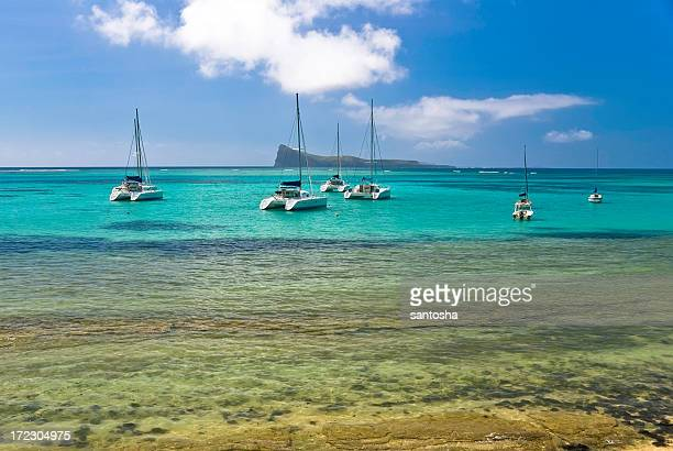 Group of sailing boat in turquoise water