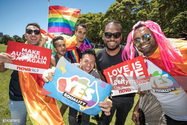 A group of samesex mariage supporters celebrate in Prince Alfred Park after Australia votes 'Yes' on November 15 2017 in Sydney Australia Australians...